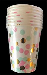 Pink Gold and Green Dots  paper Cup 230ml. Pack of 8