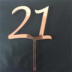 Acrylic Cake Topper Rose Gold Number 21