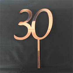 Acrylic Cake Topper Rose Gold Number 30