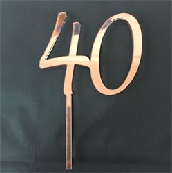 Acrylic Cake Topper Rose Gold Number 40