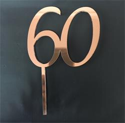 Acrylic Cake Topper Rose Gold Number 60