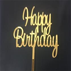 Acrylic Cake Topper Gold Happy Birthday