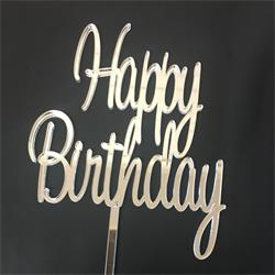 Acrylic Cake Topper Silver Happy Birthday