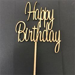 Wooden Cake Topper Happy Birthday