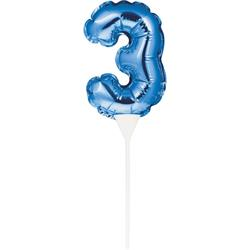 Self Inflating Mini Balloon Cake Topper 3 Blue/centrepiece 10.7cm x 22.8cm (includes cup/stick)