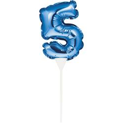 Self Inflating Mini Balloon Cake Topper 5 Blue/centrepiece 10.7cm x 22.8cm (includes cup/stick)