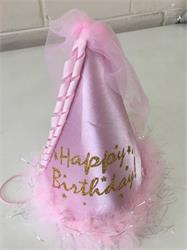 Princess Hat Pink Satin covered with Feather, Tulle and Ribbon trim.