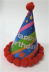 Party Hat Happy Birthday Stripe with Red Pom Pom Trim