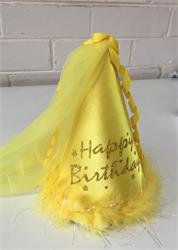 Princess Hat Yellow Satin covered with Feather, Tulle and Ribbon trim.