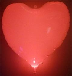 Heart Mylar Balloon with red LED in valve. 55cm