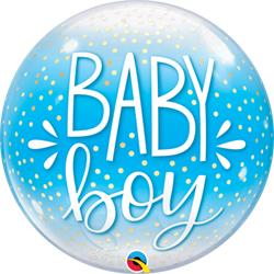 Baby Boy Blue & Confetti Dots Bubble 55cm