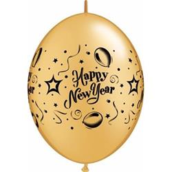 Quicklink Balloons New Year Gold 30cm Qualatex