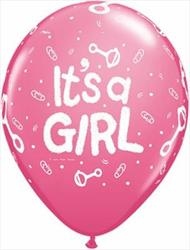 Qualatex Balloons Its A Girl Rattle Rose 28cm