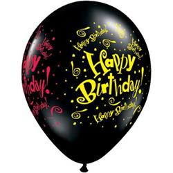 Qualatex Balloons Birthday Blast Onyx Black 28cm