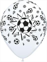 Qualatex Balloons Soccer Balls Around White 28cm..