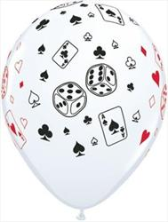 Qualatex Balloons Cards & Dice White Casino  28cm