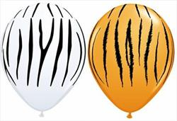Qualatex Balloons Zebra Stripes Asst Orange and White 28cm