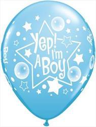 Qualatex Balloons Yep! I'm A Boy Blue Wrap 28 cm