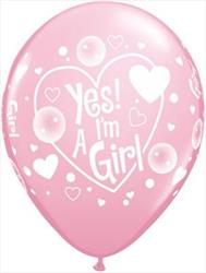 Qualatex Balloons Yes! I'm A Girl Pink Wrap 28 cm