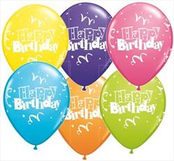 Qualatex Balloons Birthday Streamers and Stars Asst 28 cm