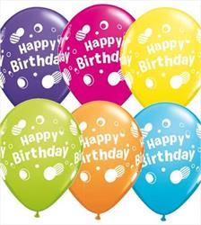 Qualatex Balloons Happy Birthday Polka Dots 28cm   25 count