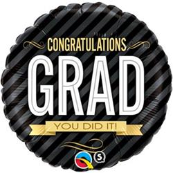 Qualatex Balloons Congratulations Grad Stripes 45cm