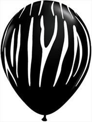 Qualatex Balloons Zebra Stripes Black w White 28cm