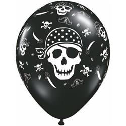 Qualatex Balloons Pirate Skull & Crossbones Black 28cm