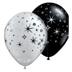 Qualatex Balloons Sparkles & Swirls Silver & Black 28cm