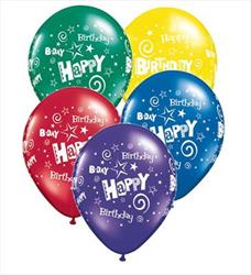 Qualatex Balloons Birthday Stars & Swirls Rdnt J/T Asst 28 cm