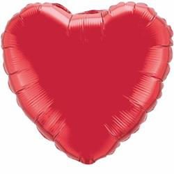 "Heart Foil Ruby Red 36""   Unpackaged"