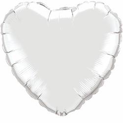 "Heart Foil Silver 36""   Unpackaged"