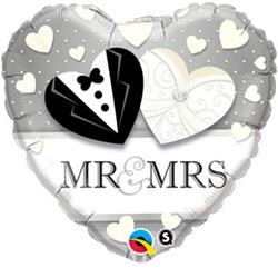 Qualatex Balloons Heart Foil Mr and Mrs Wedding 45cm