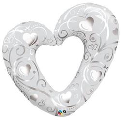 Hearts and Filigree Pearl White 106 cm.