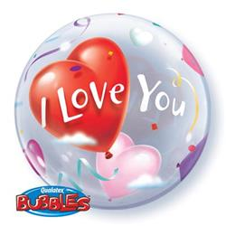 I love You Heart balloons Bubble 55cm