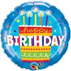 Qualatex Balloons Birthday Cake Blue 45cm
