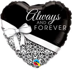Qualatex Balloons Heart Foil Always and Forever 45cm