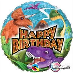 Qualatex Balloons Birthday Dinosaurs Holographic 45cm