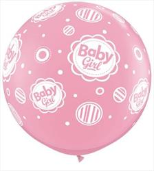 "Qualatex Balloons Baby Girl Dots 90cm - 36"" (dup)"