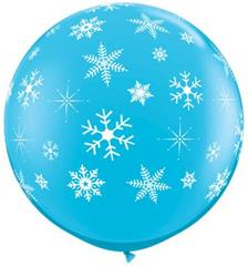 "Qualatex Balloons Snowflakes Around Robin Egg Blue 90cm - 36"" (dup)"