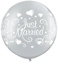 Qualatex Balloons Just Married Hearts Silver 76cm