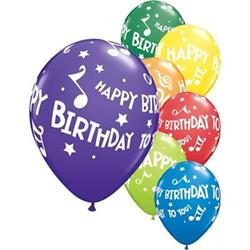 Qualatex Balloons Happy Birthday To You Music Note 28cm 25 count