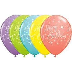 Qualatex Balloons Birthday Elegant Sparkles and Swirls Sorbet Asst 28cm