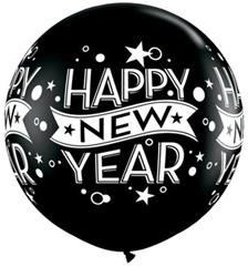 New Year Confetti Dots 90cm Onyx Black