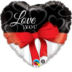 Qualatex Balloons Love You Red Ribbon 45cm