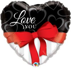 Qualatex Balloon Love You Red Ribbon 97cm
