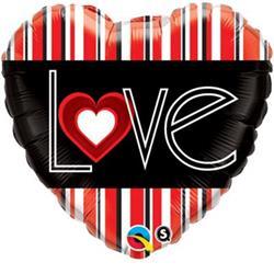 Qualatex Balloons L(heart) Red Stripes 45cm