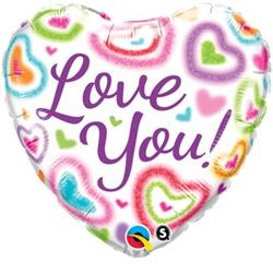 Qualatex Balloons Love You Fuzzy Hearts 45cm