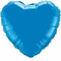 Heart Foil Sapphire Blue 45cm   Unpackaged