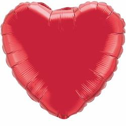 Qualatex Balloons 23cm Heart Foil Ruby Red